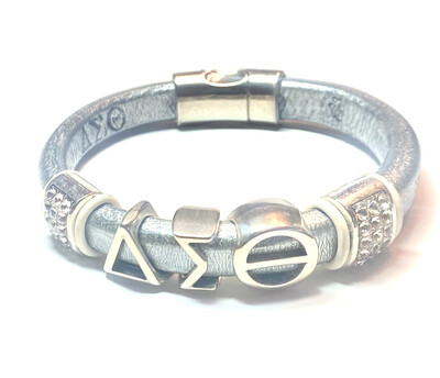 Bracelet   Silver Leather Delta Sigma Theta With Clear Bling And White Rings Classy Creations Originals