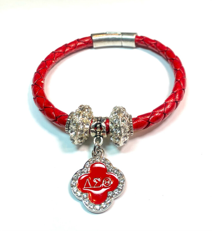 Bracelet   Red Leather Rope With Delta Sigma Theta Bling Classy Creations Originals