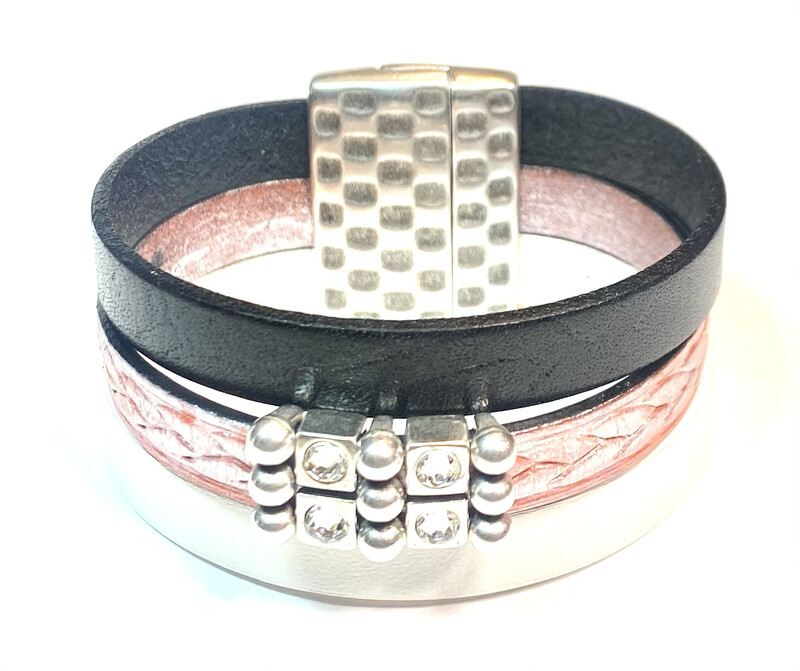 Bracelet|  Women's Three Toned Cuff Black,Metallic Pink And White Wrap Leather With Silver Bling Accents Classy Creations Original