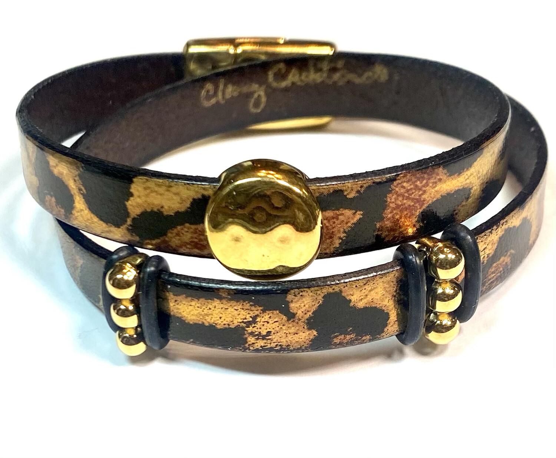 Bracelet|  Women's Metallic Leopard Print Wrap Leather With Gold Accents Classy Creations Original
