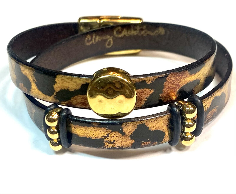Bracelet|  Women's Metallic Leopard Print Wrap Leather With Gold Accents Classy Creations Original