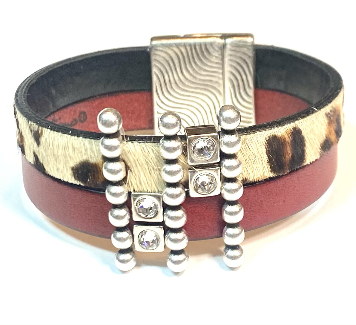 Bracelet|  Women's Two Toned Cuff Red And Leopard Print Wrap Leather With Silver Bling Accents Classy Creations Original