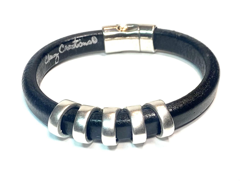 Bracelet | Men's Black Leather Cut Out Style