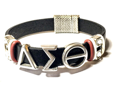 Bracelet   Black And Silver Delta Sigma Theta Bling Flat Leather Classy Creations Originals