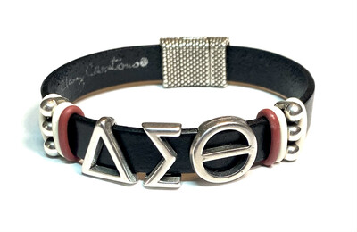 Bracelet   Black And Silver Delta Sigma Theta Silver Beads Flat Leather Classy Creations Originals