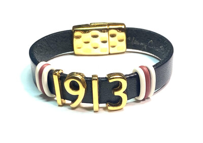 Bracelet   Black And Gold '1913 ' Flat Leather With Crimson And White Rings Classy Creations Originals