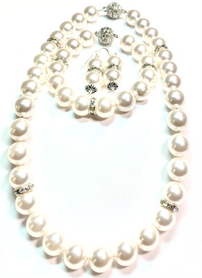 Necklace / Earrings With Bracelet Swarovski Pearl With Bling