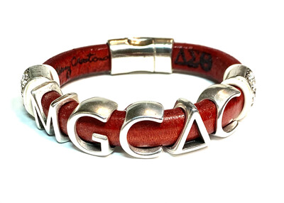 Bracelet   Red Leather Alumnae Chapter Custom Style With Bling Classy Creations Originals