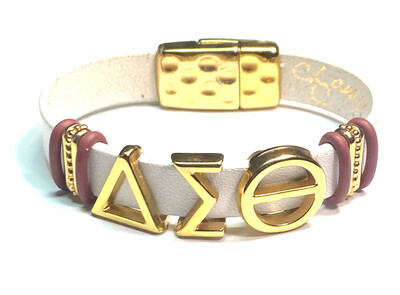 Bracelet   White And Gold Delta Sigma Theta With Crimson And Gold Beads Flat Leather Classy Creations Originals