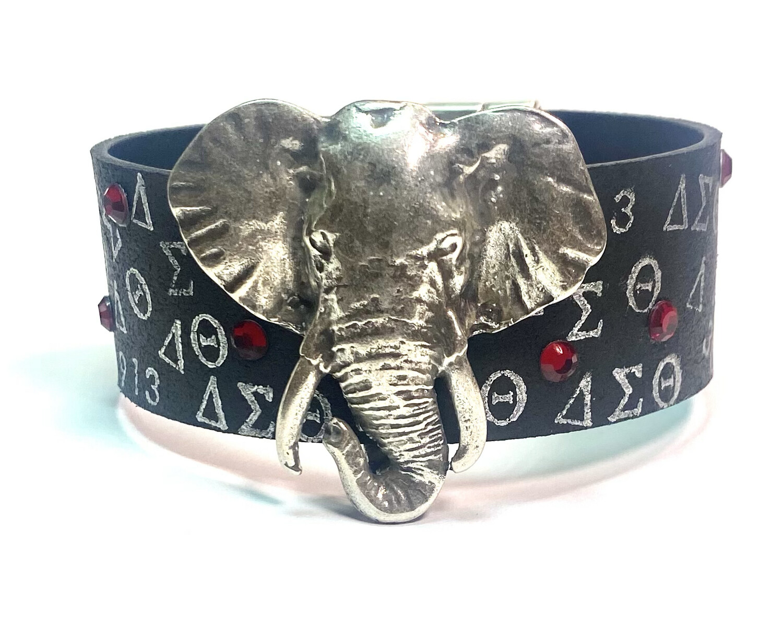 Bracelet   Black Large Silver Elephant Custom Design Cuff Bracelet.