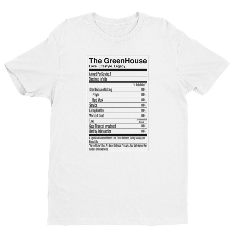 The GreenHouse Nutrition Facts T-Shirt (White)