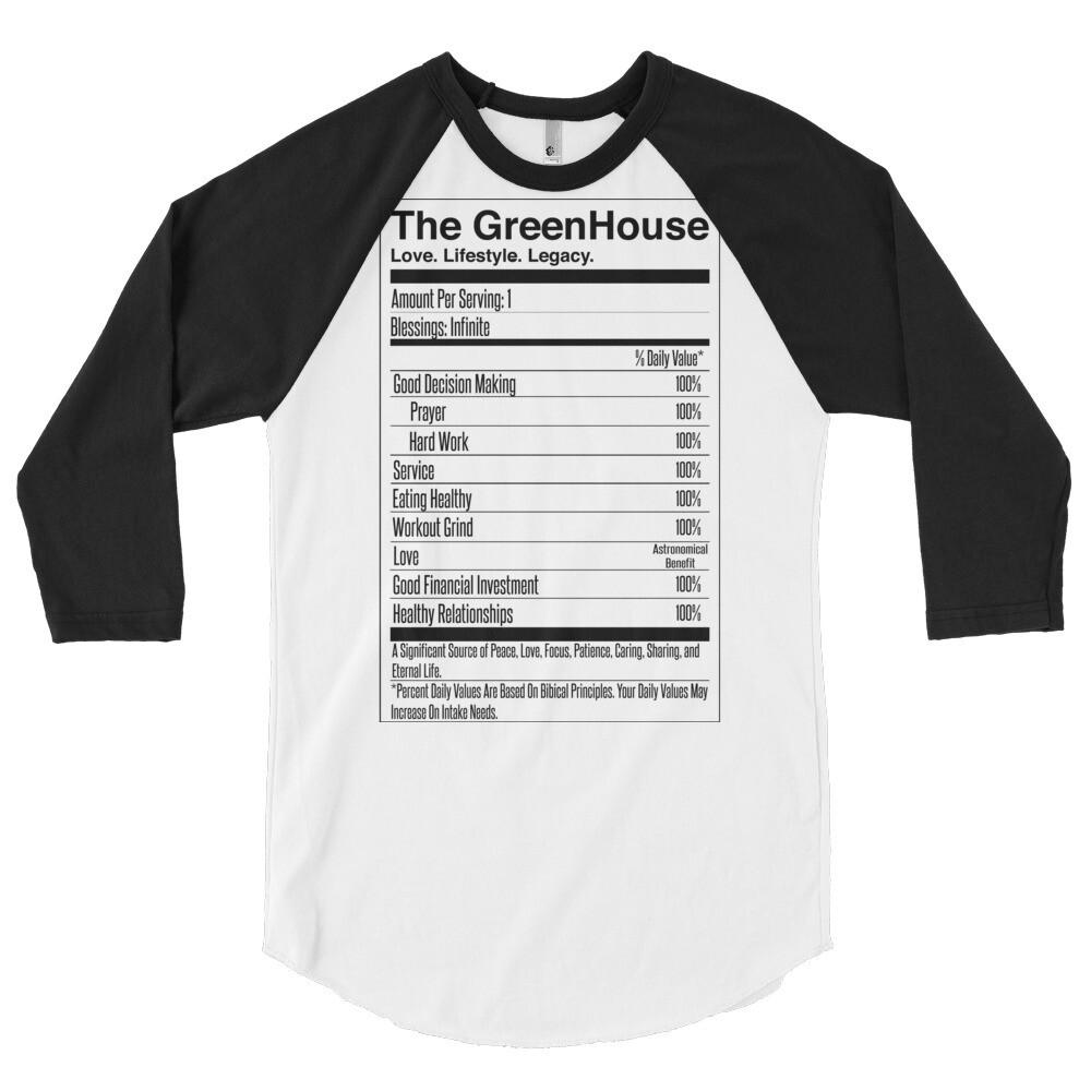 Greenhouse - Nutrition Label - 3/4 sleeve raglan shirt