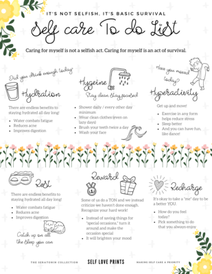 Self Care Survival Sheet - Digital Download