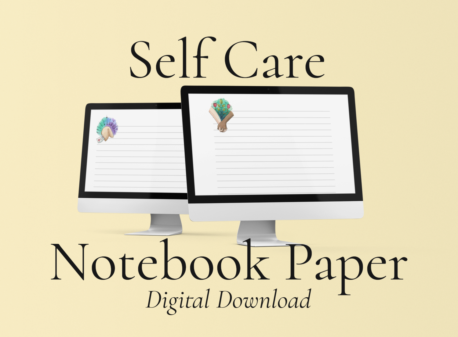 100 Pages of Self Care Notebook Paper: Digital Download