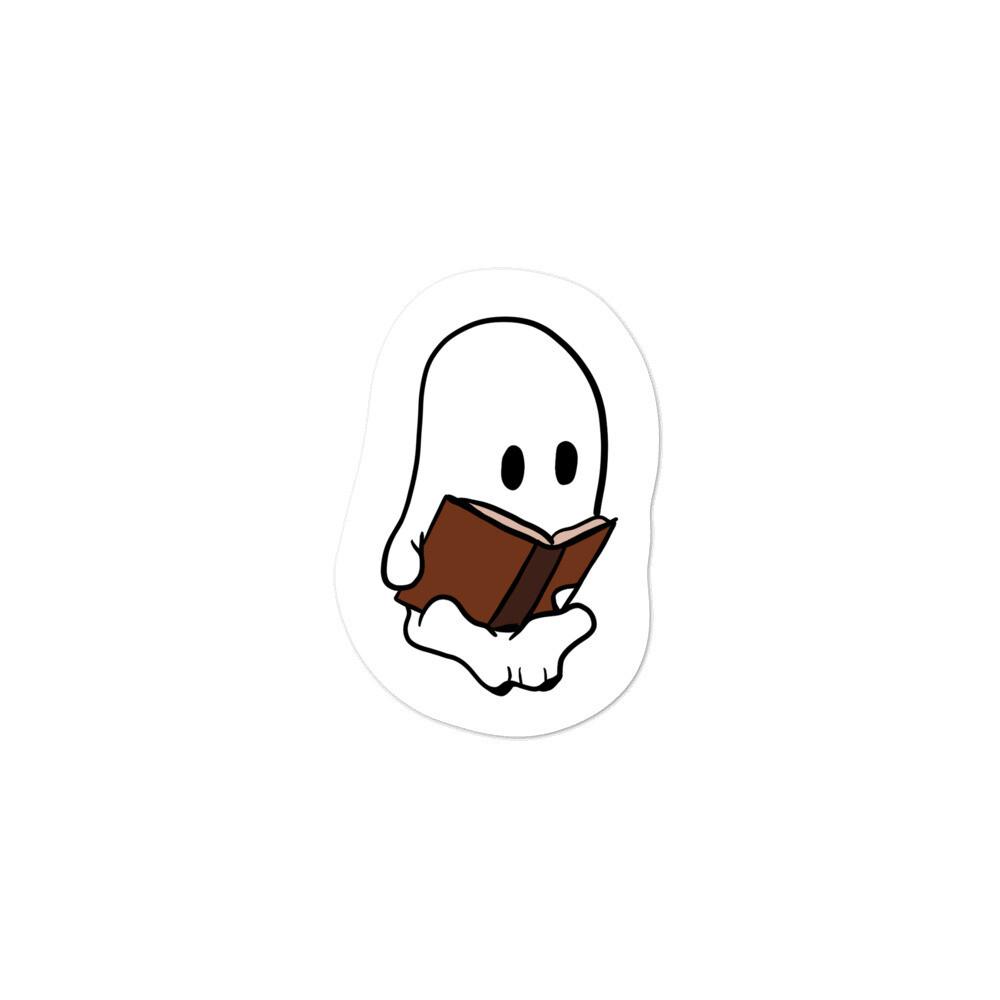 Ghost Reading Book Sticker