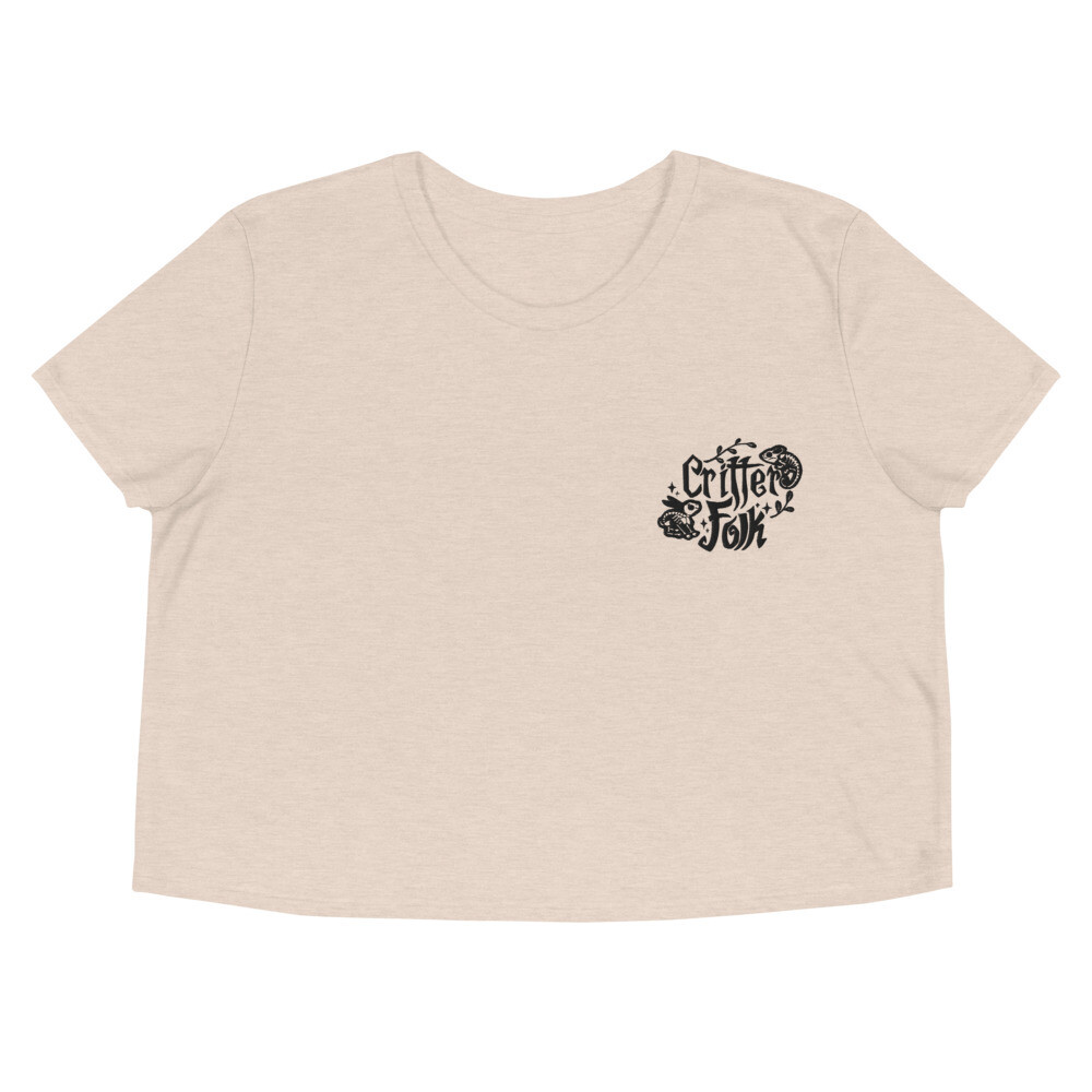 Critter Folk Embroidered Crop Top - Rabbit & Chameleon (Light)