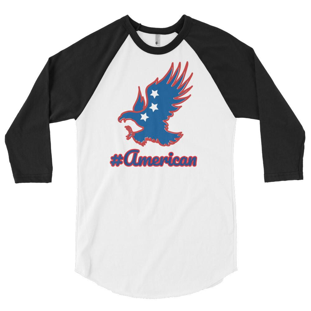 #American 3/4 sleeve raglan shirt