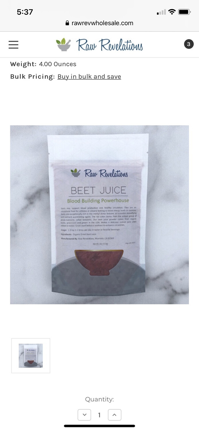 Beet Juice Powder 4 Oz
