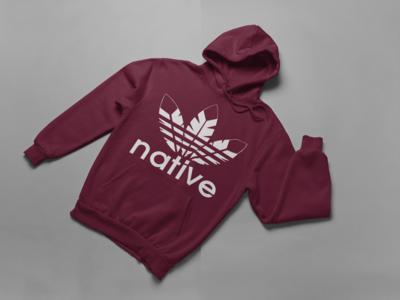 Native hoodie maroon w white ink