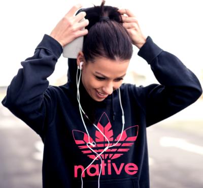 Native Style hoodie black w pink logo