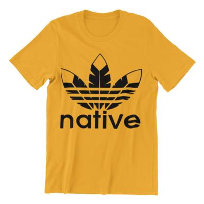 Native basic tee gold w black ink