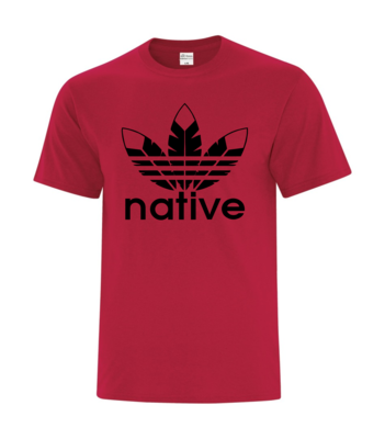 Native basic tee red w black ink