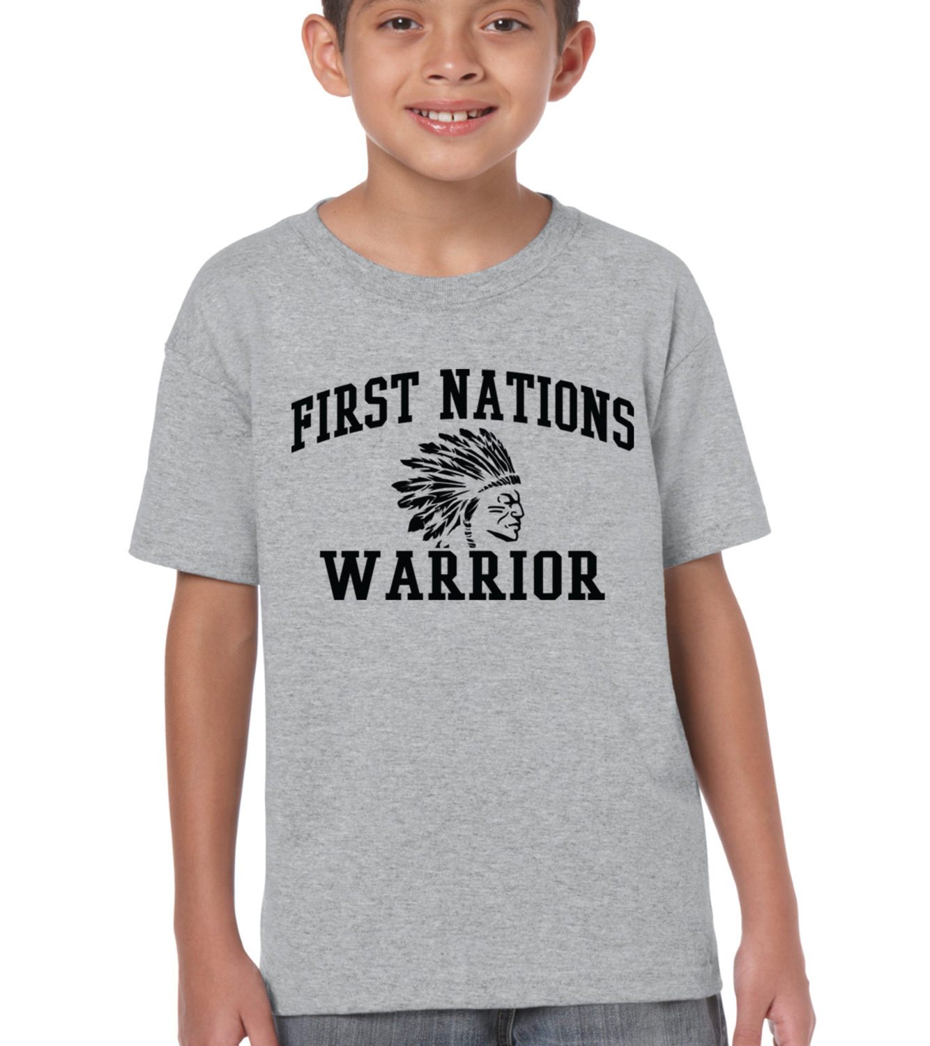 First Nations Warrior Headdress- Youth Tee