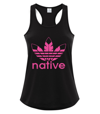 Native Style 2020 racerback tank- Vintage Pink on black