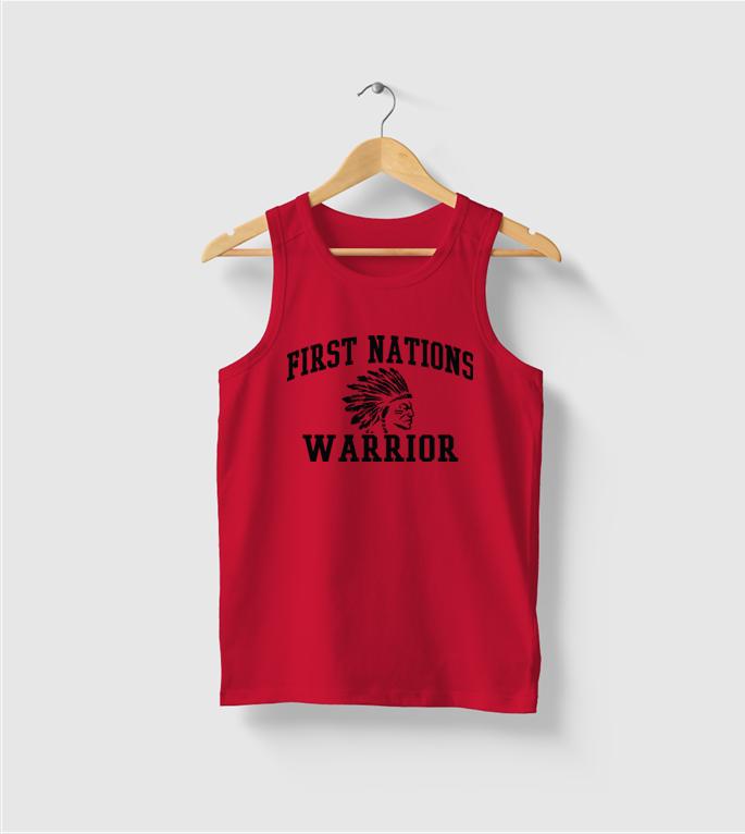 First Nations Warrior Headdress Tank Top - RED