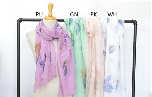 Viscose Feather Scarf - Pink