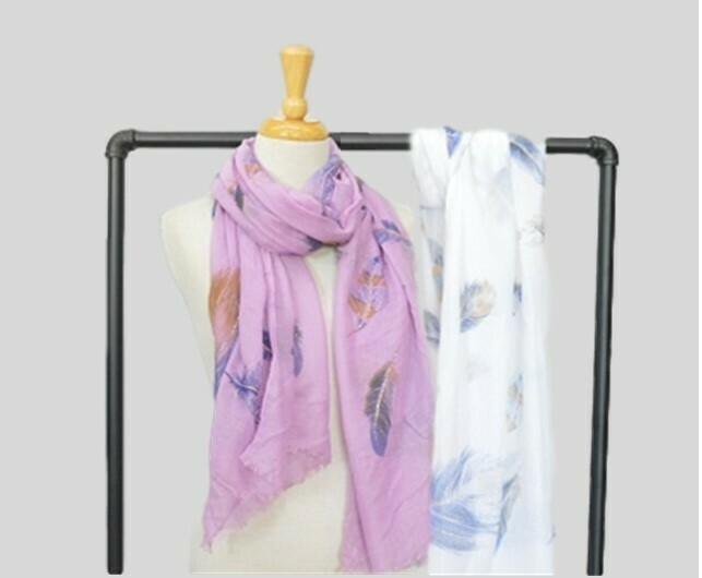 Viscose Feather Scarf - White