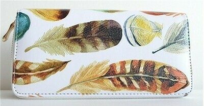 Painted Feather clutch wallet -White