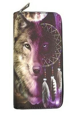 Wolf keep dreaming clutch wallet -Purple
