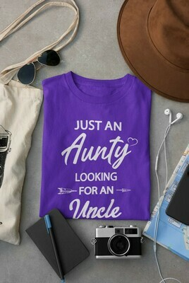 Just an Aunty - basic fit tee purple
