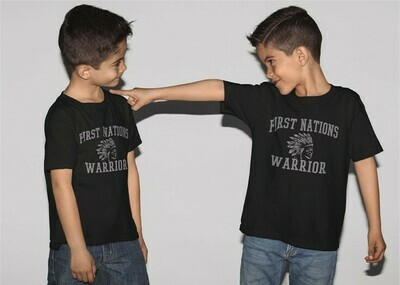 First Nations Warrior Headdress- Youth Tee black