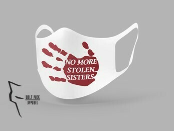 No More Stolen Sisters mask- Standard fit white w red ink