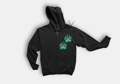 Turquoise Bear Paws - Adult Zip Hoodie black