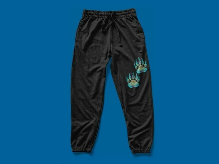 Turquoise Bear Paws sweatpants - Adult black