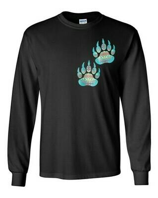 Turquoise Bear Paw - Adult Long Sleeve Shirt