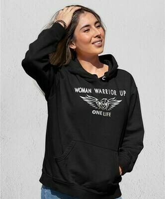 Woman Warrior Up hoodie - Black w silver ink