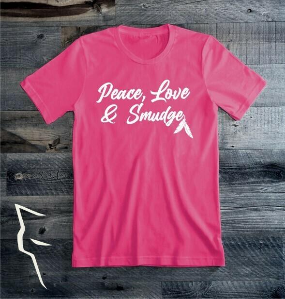 Peace Love Smudge - basic tee pink