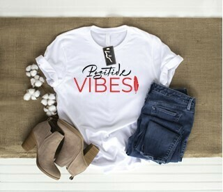 Positive Vibes - Basic fit tee w red