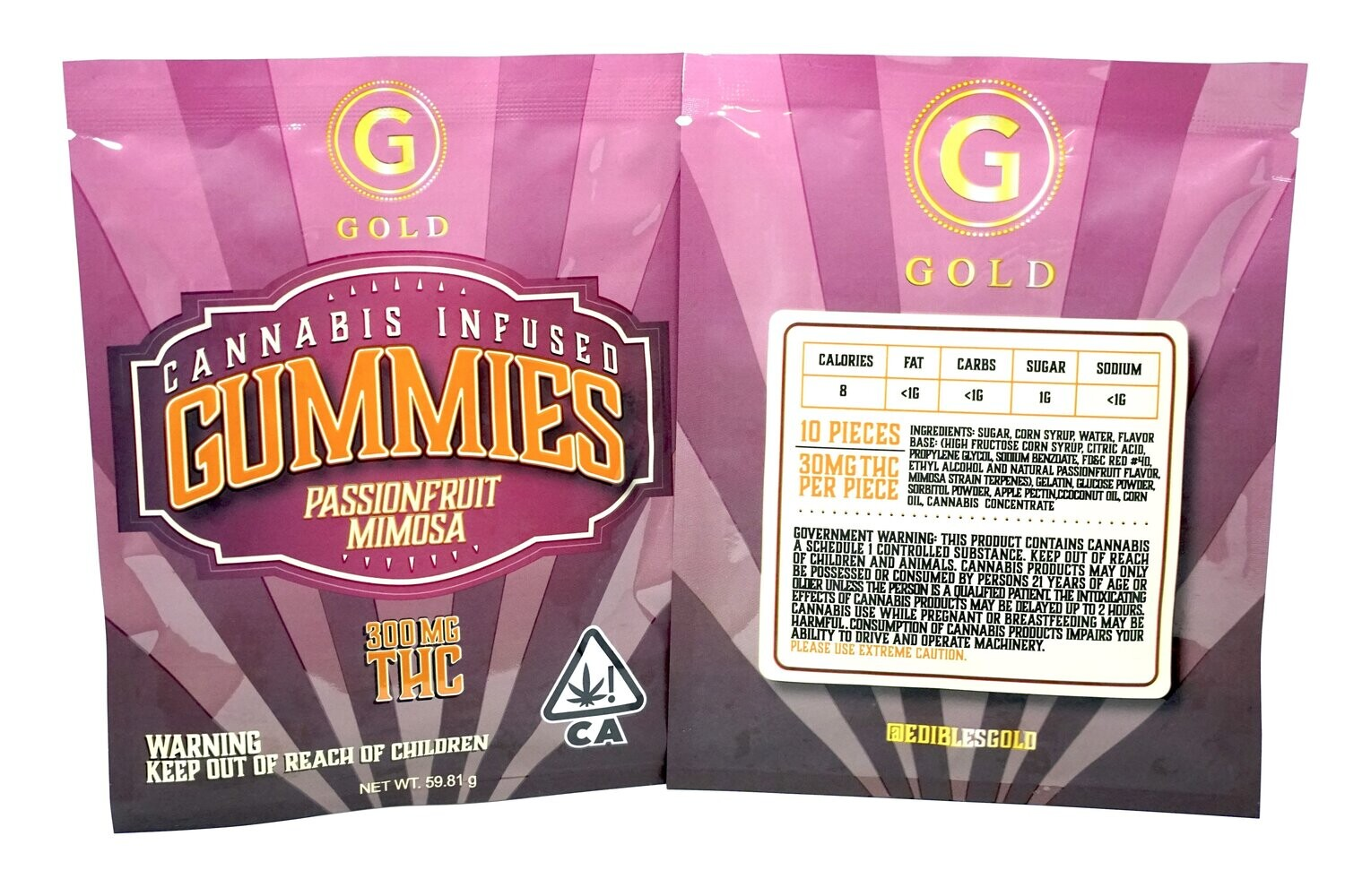 Gold Gummies Passion Fruit Mimosa 300mg