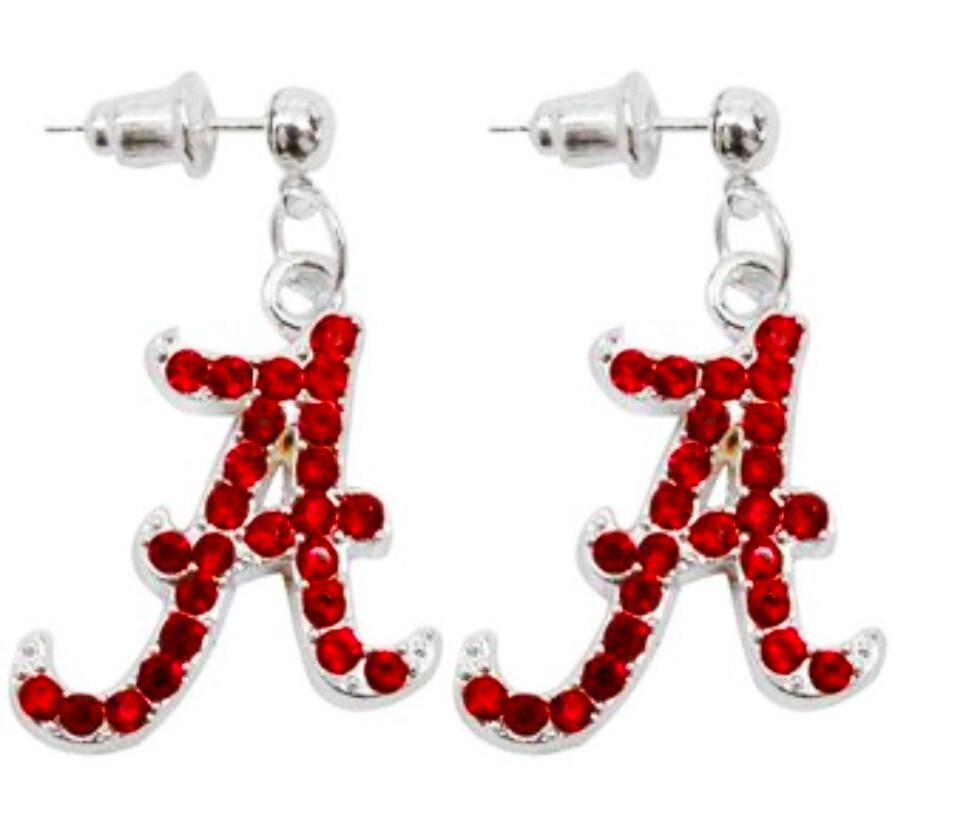 "Alabama Crimson Tide ""A"" NCAA Garnet Rhinestone Earrings"