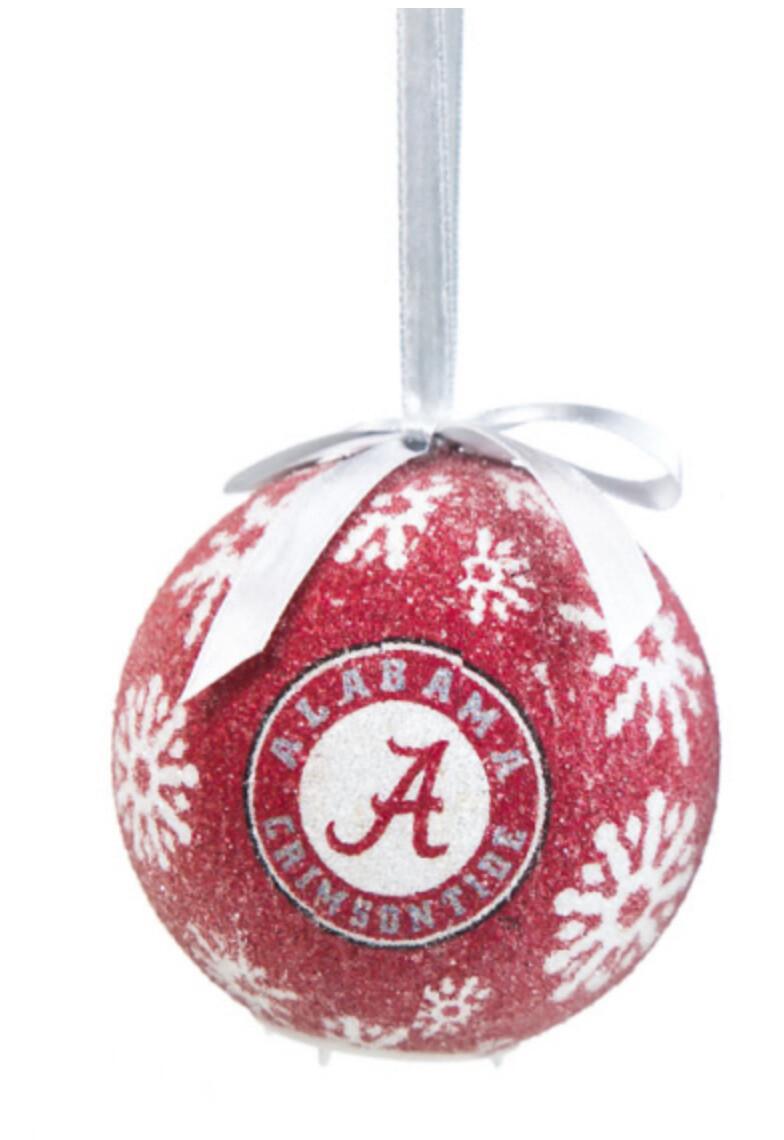 Alabama Crimson Tide Logo LED Light-up Ball NCAA Christmas Tree Holiday Ornament (Red)