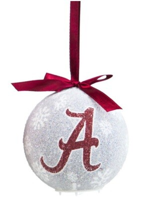 Alabama Crimson Tide Logo LED Light-up Ball NCAA Christmas Tree Holiday Ornament (White)