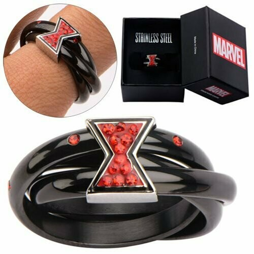 Black Widow Logo Symbol Marvel Avengers Red Bling Gems Ring