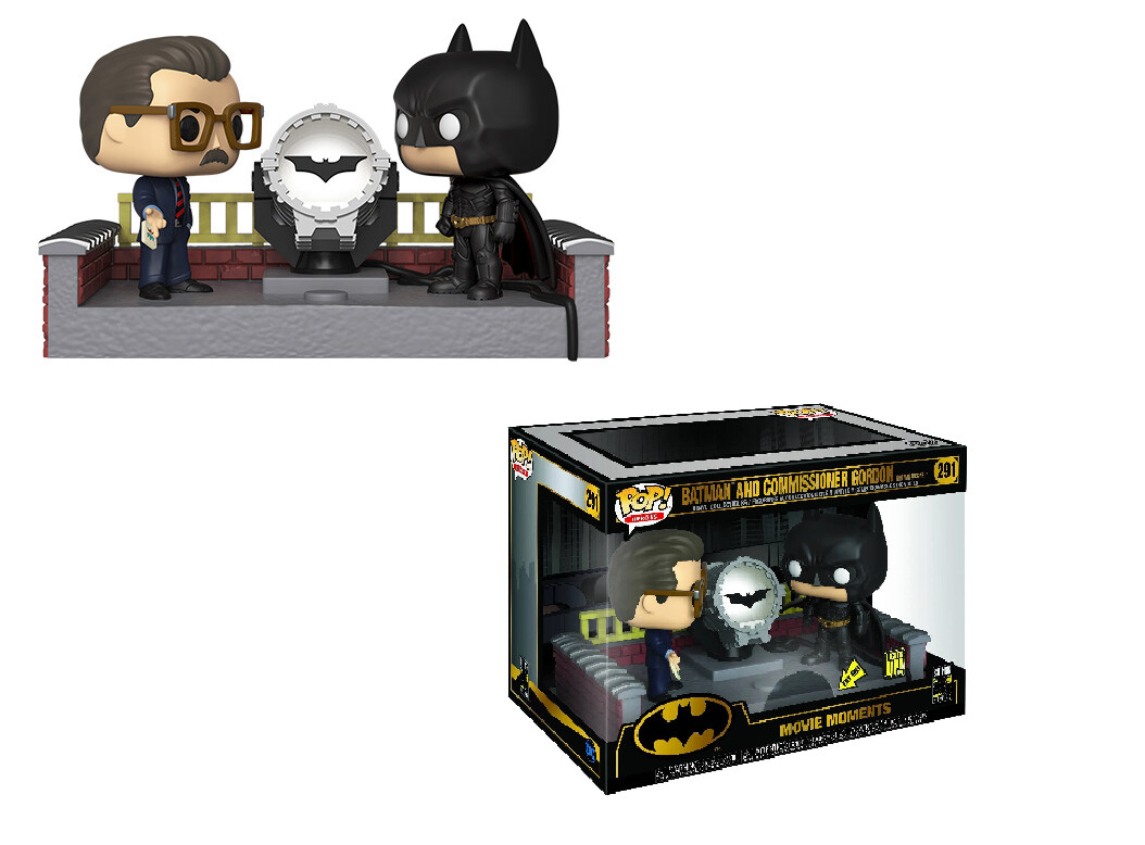 Batman and Commissioner Gordon Movie Moments Funko Pop with Light-up Bat Signal