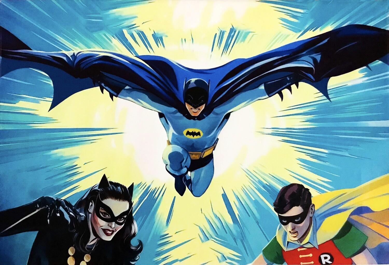 """Batman, Robin and Catwoman Batman Classic TV DC Comics 18"""" x 12"""" Framed Canvas Print Wall Art"""