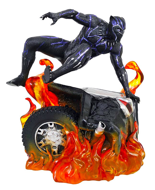 Black Panther Flaming Car Diamond Select Marvel Movie Gallery PVC Diorama Statue